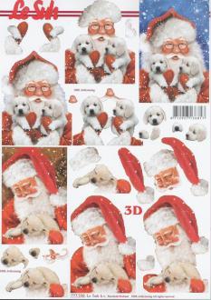 Feuille 3D à découper A4 Père Noël Chien