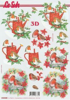 Feuille 3D à découper A4 Rouge-Gorge Poinsettia Noël