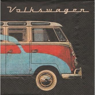 4 Serviettes en papier Bus Volkswagen Samba Format Lunch