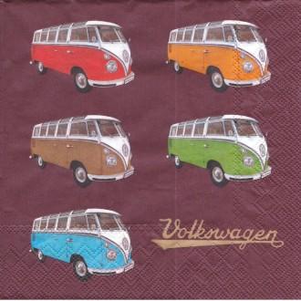 4 Serviettes en papier Bus Volkswagen Samba Couleur Format Lunch