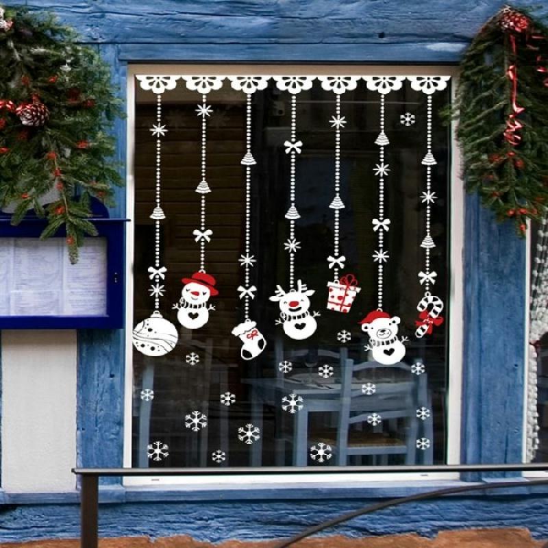 stickers adh sifs pendentifs bonhomme de neige vitrine