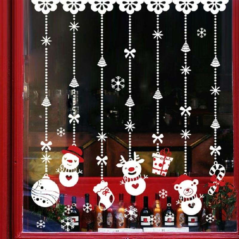 Stickers adh sifs pendentifs bonhomme de neige vitrine for Adhesif translucide fenetre