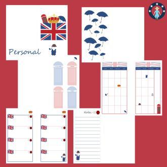 Kit pages à imprimer Angleterre pour planner personal non datés français
