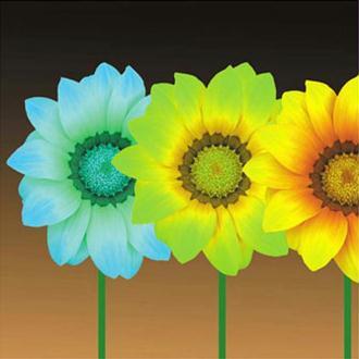 Image 3D Fleur - 3 fleurs couleurs froides 30 x 30 cm