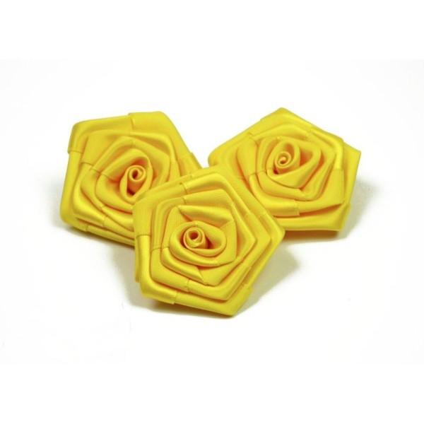 Sachet de 3 roses satin de 6 cm de diametre blanc 029 - Photo n°2