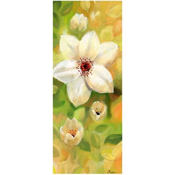 Image 3D Fleur - Fleur blanche fond jaune et vert 20 x 50 cm - Photo n°1