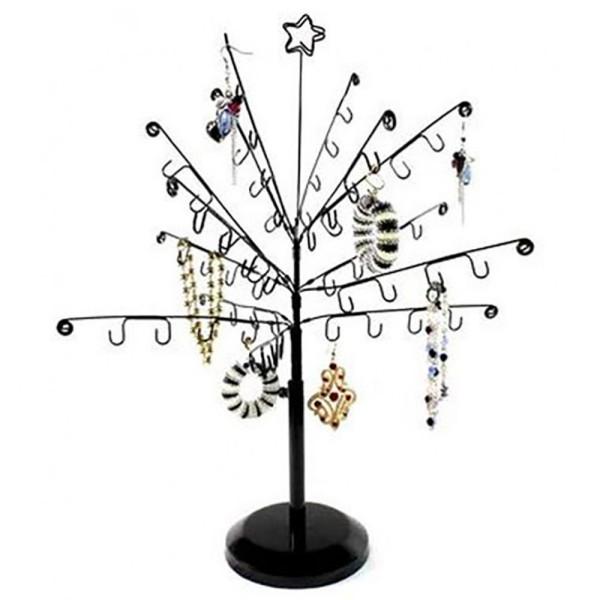 Porte bijoux arbre à bijoux mixte et boucle d'oreille sapin Noir - Photo n°1