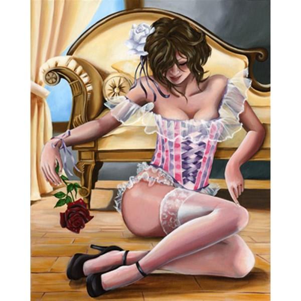 Image 3D Femme - Femme sur banquette 40 x 50 cm - Photo n°1