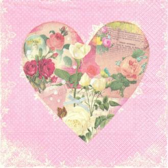 4 Serviettes en papier Coeur Fleuri Format Lunch