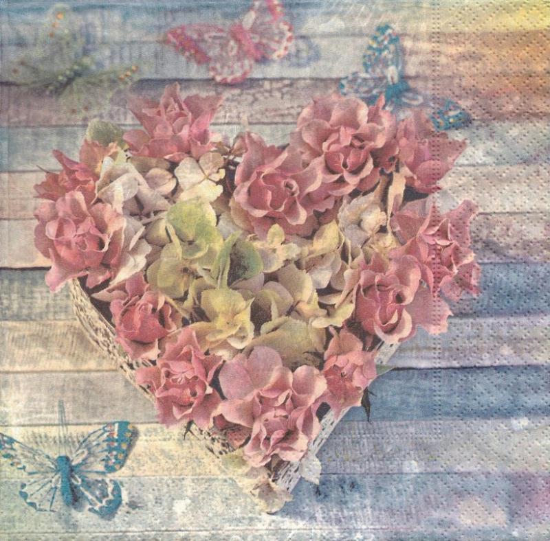4 Serviettes en papier Coeur de fleurs Format Lunch - Serviette fleurs - Creavea