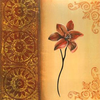 Image 3D Fleur - Fleur rouge sur côté droit 30 x 30 cm