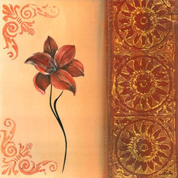 Image 3D Fleur - Fleur rouge sur côté gauche 30 x 30 cm - Photo n°1