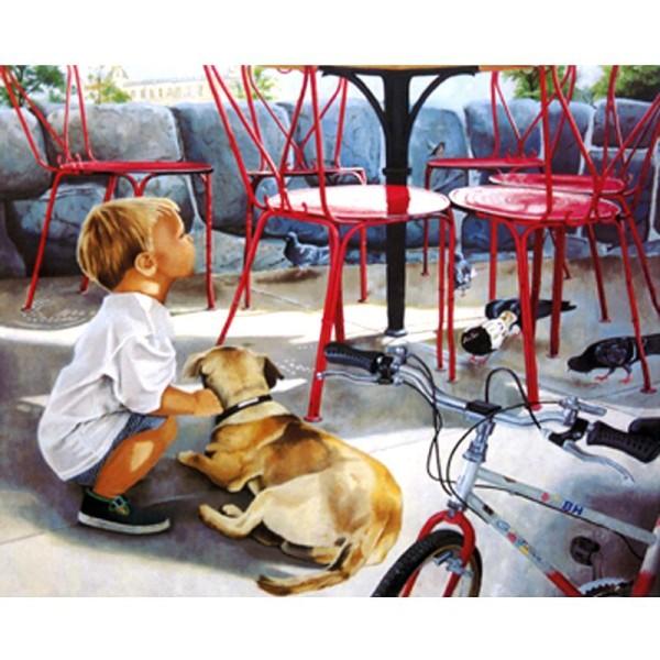 Image 3D Enfant - Enfant accroupi 24 x 30 cm - Photo n°1