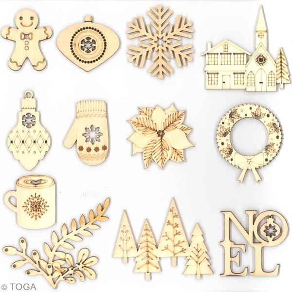 Assortiment de formes en bois - Joyeux Noël - 12 pcs - Photo n°2