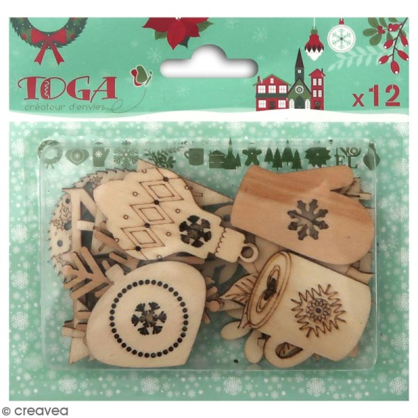 Assortiment de formes en bois - Joyeux Noël - 12 pcs - Photo n°1