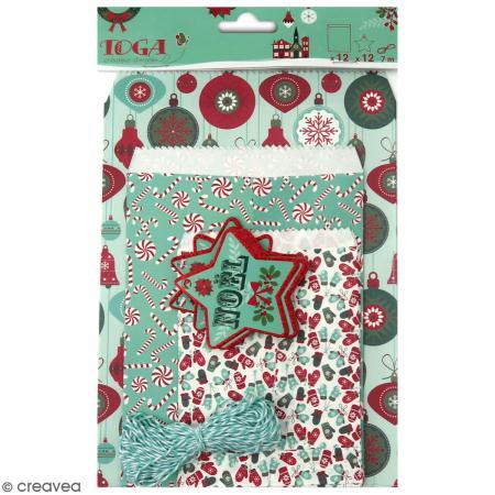 Assortiment de Sachets cadeau et étiquettes - Joyeux Noël - 12 pcs - Toga