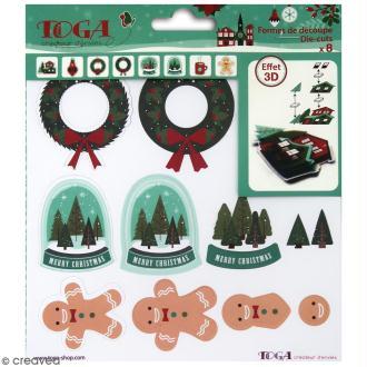 Formes prédécoupés à assembler - Effet 3D - Joyeux Noël - 8 pcs