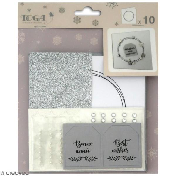 Set de carterie - Blanc et argenté - Kit 10 cartes de voeux - Photo n°1
