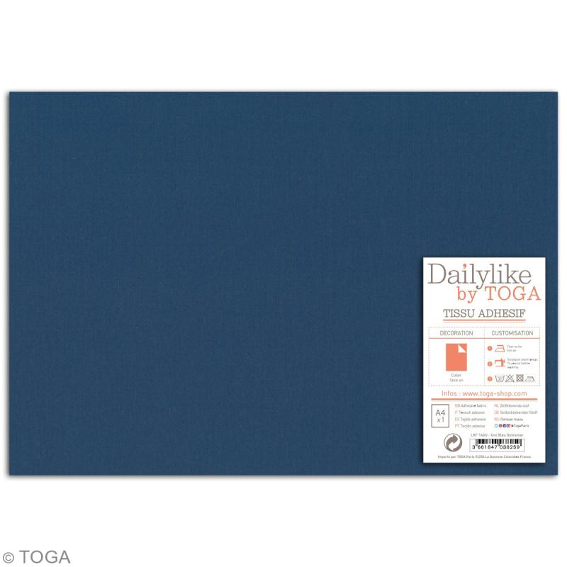 Daily like uni Bleu outremer - Tissu autocollant A4 - Photo n°2