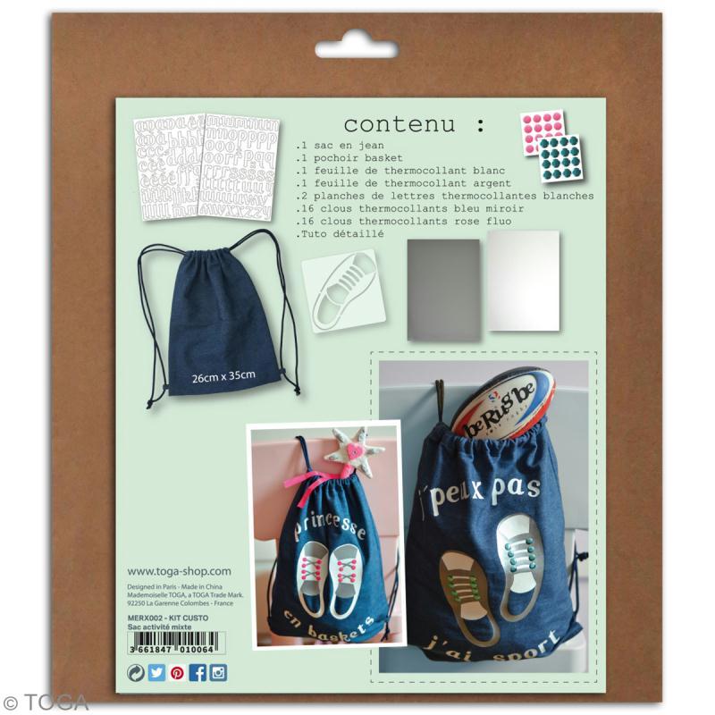 Kit sac d'activités à décorer 26 x 35 - Bleu jean - Photo n°4