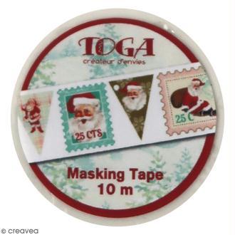 Masking Tape Dear Santa Toga - Timbres Père Noël - 1,5 cm x 10 m