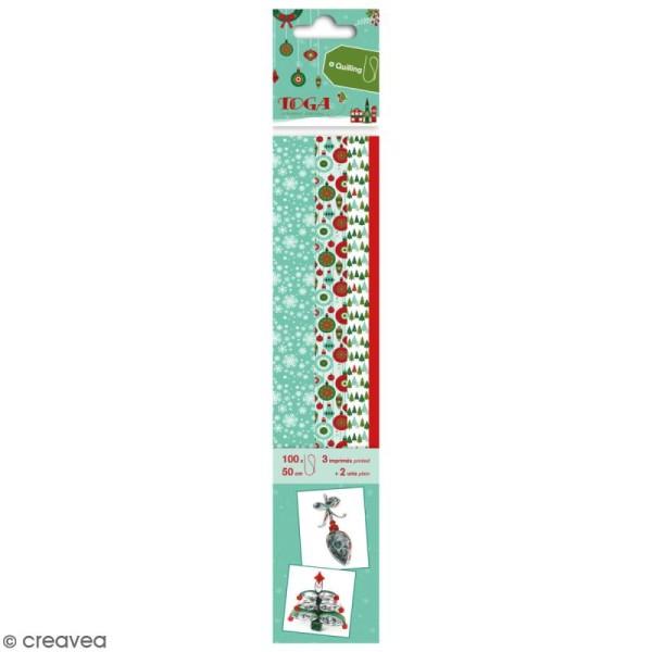 Bandes de papier quilling - Joyeux Noël - 4 tailles -100 pcs - Photo n°1