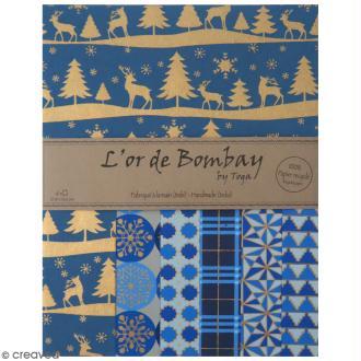 Papier l'Or de Bombay - Noël Bleu - Bleu foncé / Bleu clair / Doré - 6 feuilles