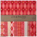 Papier l'Or de Bombay 30,5 x 30,5 cm - Doré / Rose Fuchsia / Rouge - 10 feuilles
