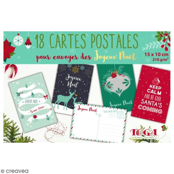 Bloc Déco cartes postales - Joyeux Noël - 15 x 10 cm - 18 feuilles - Photo n°1