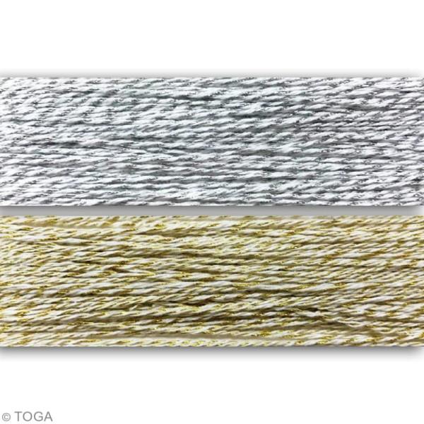 Assortiment ficelle twine bicolore - Doré et argenté - 15 m - 2 pcs - Photo n°2
