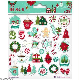 Stickers Puffies Toga - Joyeux Noël - 29 pcs