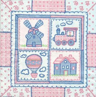 4 serviettes en papier découpage collage 33 cm ENFANT NAISSANCE 515
