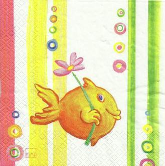 4 serviettes en papier découpage collage 33 cm POISSON 3