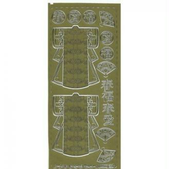 1 planche de stickers autocollants peel off doré KIMONO EVENTAIL