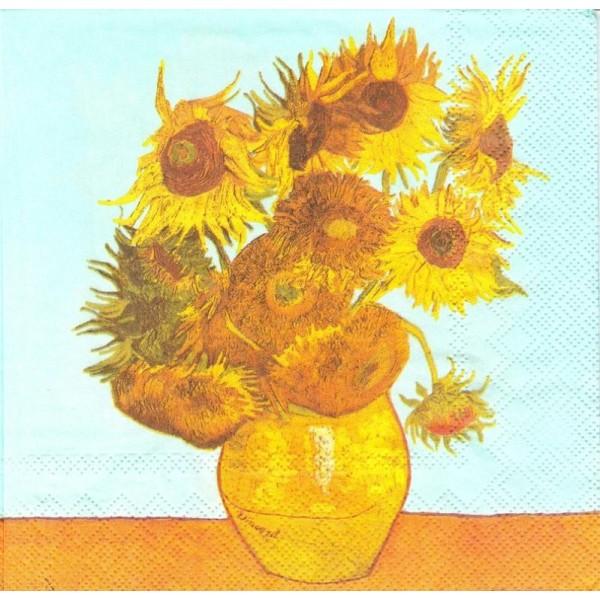 4 Serviettes en papier Van Gogh Les Tournesols Format Lunch - Photo n°1