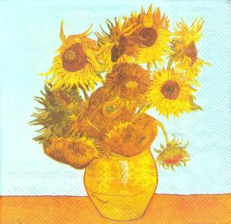 4 Serviettes en papier Van Gogh Les Tournesols Format Lunch