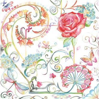 4 serviettes en papier découpage collage 33 cm GRAPHIQUE FLORAL F206