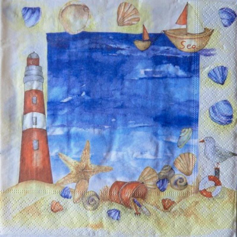4 serviettes en papier d coupage collage 33 cm phare bateau mer coquillage 11 serviette en. Black Bedroom Furniture Sets. Home Design Ideas