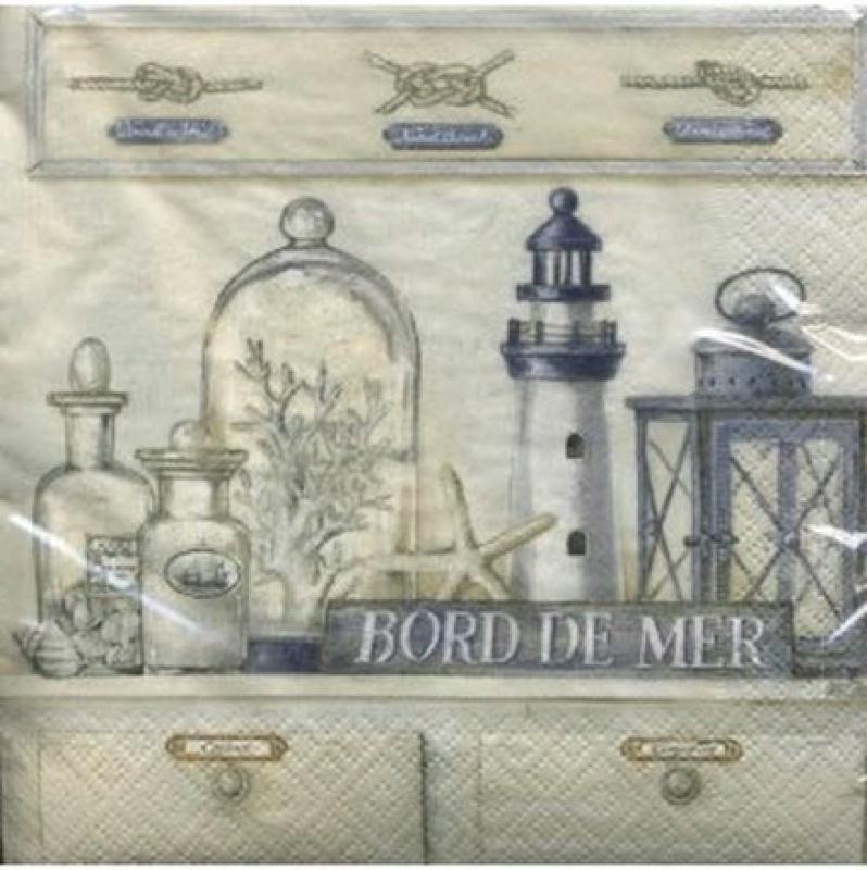 4 serviettes en papier d coupage collage 33 cm bord de mer - Interieur bord de mer ...
