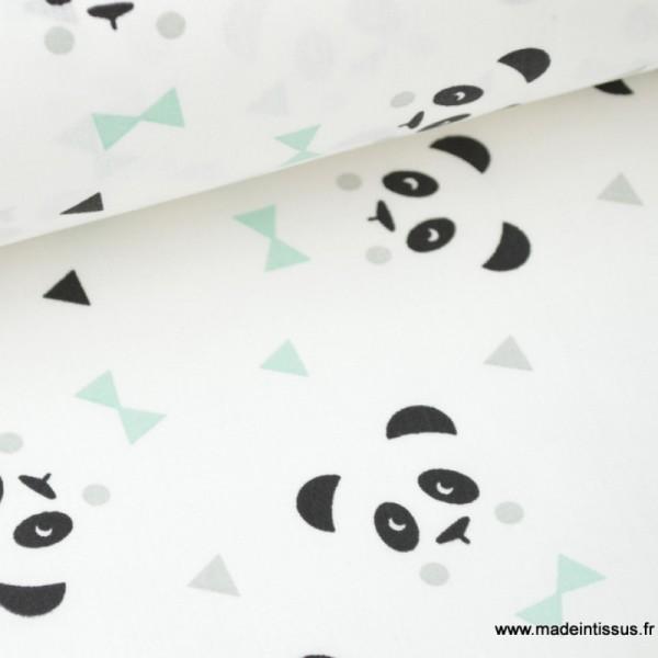 Tissu 100 Coton Dessin Panda Menthe X1m