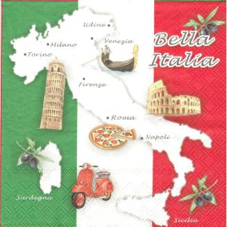4 Serviettes en papier Italie Format Lunch