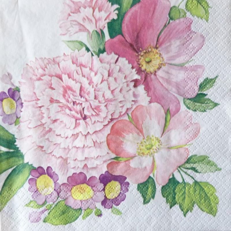 4 serviettes en papier d coupage collage 33 cm fleur rose 363 serviette fleurs creavea. Black Bedroom Furniture Sets. Home Design Ideas