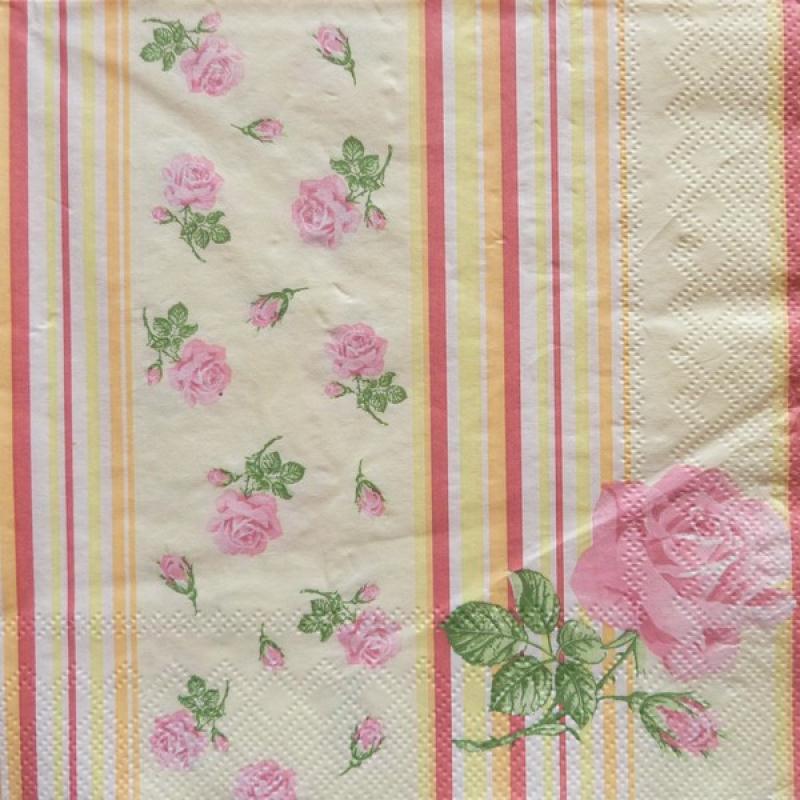 4 serviettes en papier d coupage collage 33 cm rose 274 serviette fleurs creavea. Black Bedroom Furniture Sets. Home Design Ideas