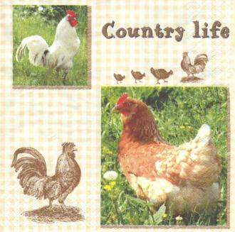 4 Serviettes en papier Coq Poule Country Format Lunch