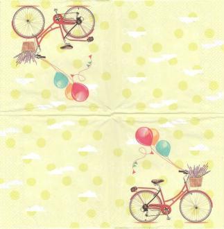 4 Serviettes en papier  Vélo Ballon Format Lunch