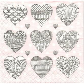 4 Serviettes en papier Coeur  Romy Format Lunch