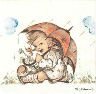 4 Serviettes en papier Enfant Parapluie Format Lunch