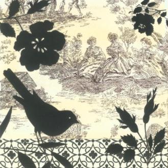 4 serviettes en papier d coupage collage 33 cm oiseau fleur blanche 9 serviette en papier. Black Bedroom Furniture Sets. Home Design Ideas