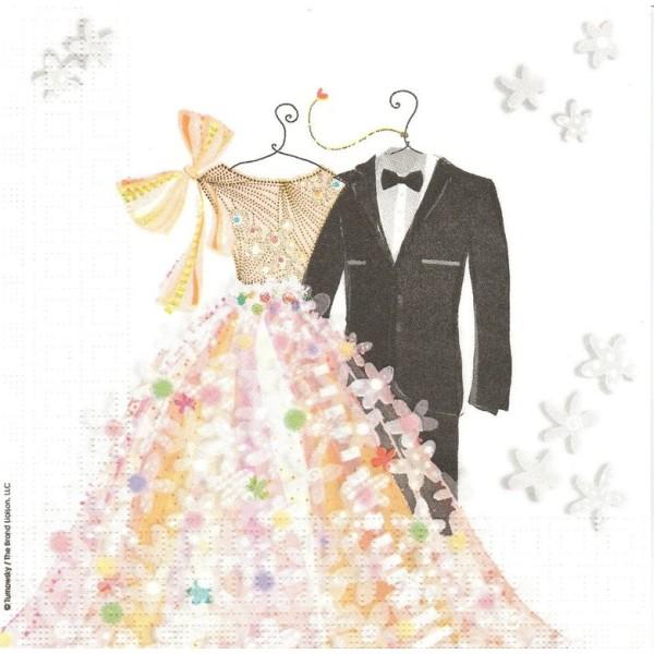 4 Serviettes en papier Costumes de Mariage Format Lunch Decoupage Decopatch 133-2427 Ambiente - Photo n°1