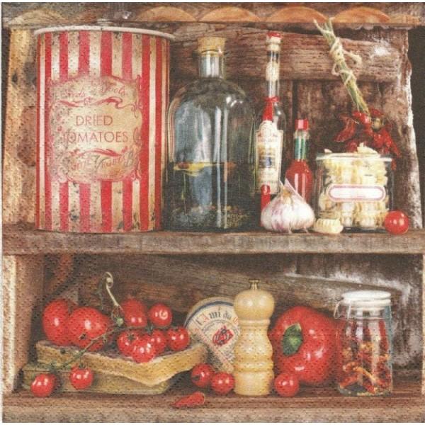 4 Serviettes en papier Cuisine Rustique Tomate Format Lunch - Photo n°1